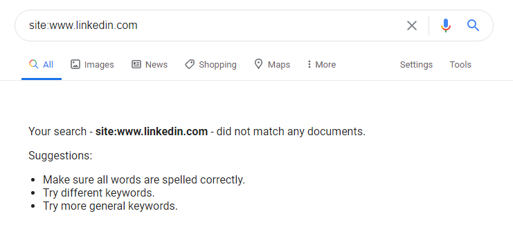 LinkedIn Temporarily Deindexed from Google