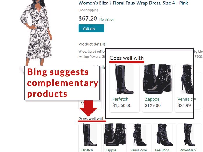 Bing visual shopping goes well with feature