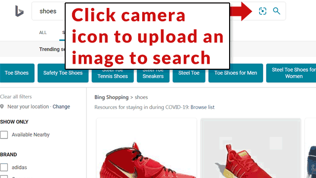 Screenshot of how to upload an image to search in Bing visual image search