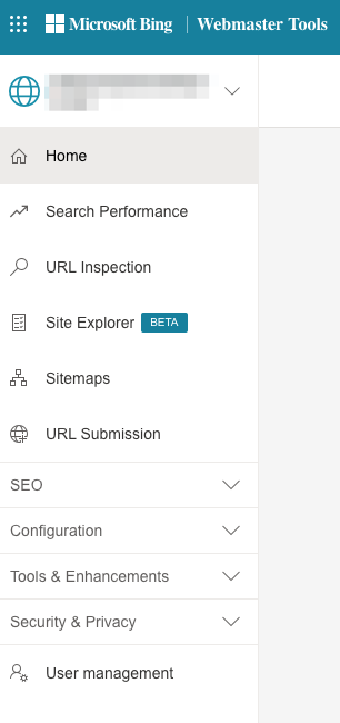 bing webmaster tools left navigation