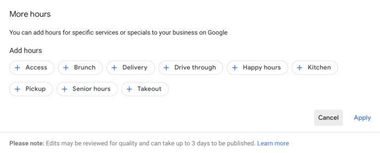 Google My Business Update: Add More Hours for Specific Services