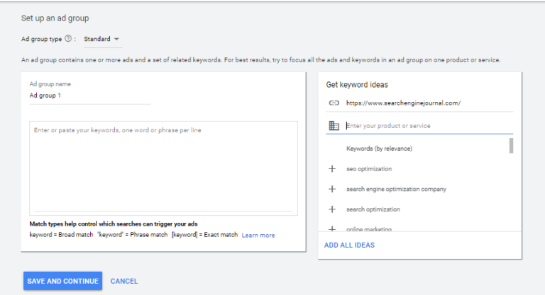 keyword suggestion tool from ad group builder