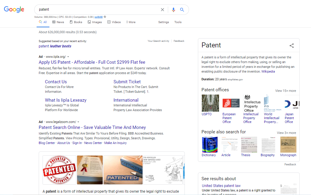 results for the google search, patent
