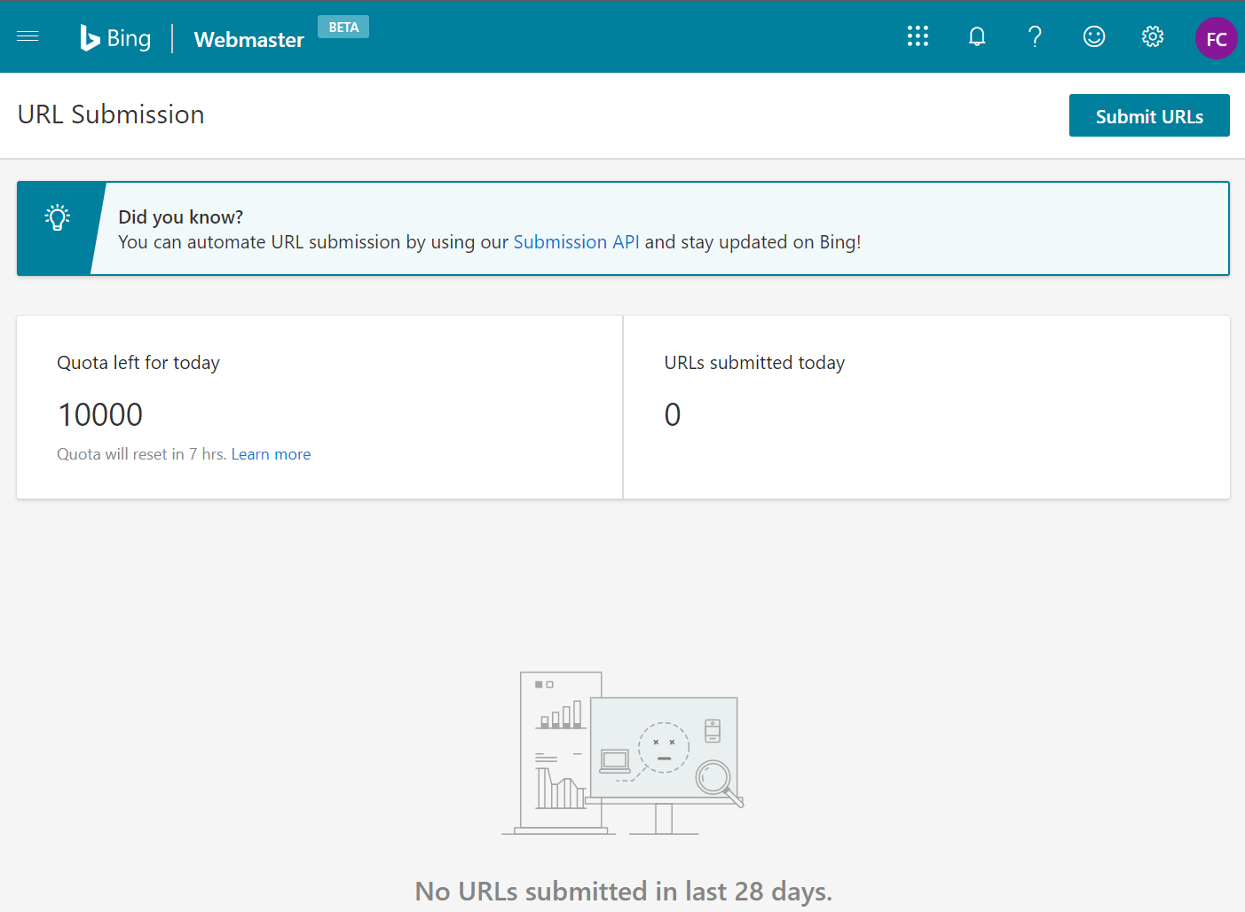 Instantly index your website content on Bing