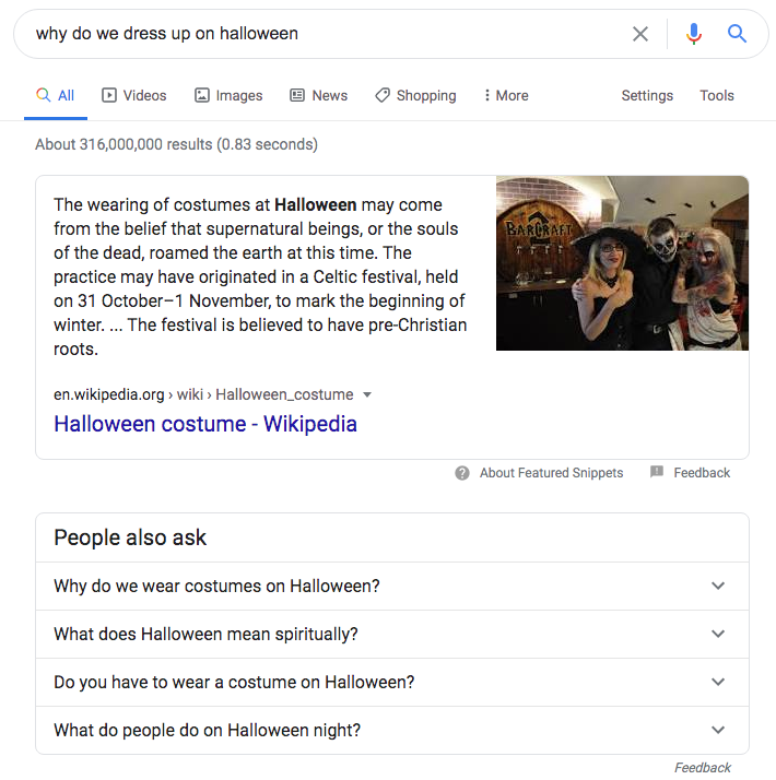 Halloween Google featured snippet people also ask
