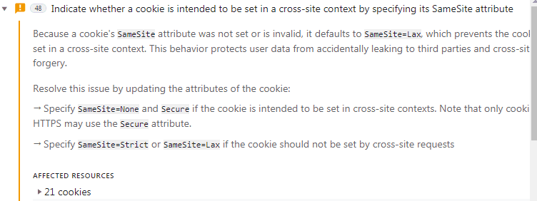 Screenshot of Chrome developer console warning about third party cookies