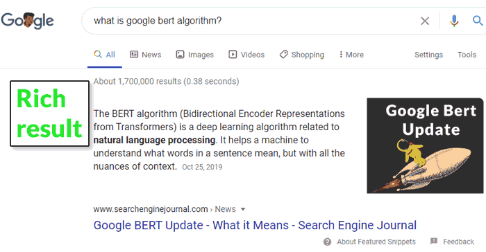 Screenshot of a rich result in Google's search results