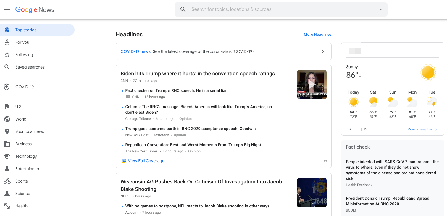 Example of the Google News homescreen.