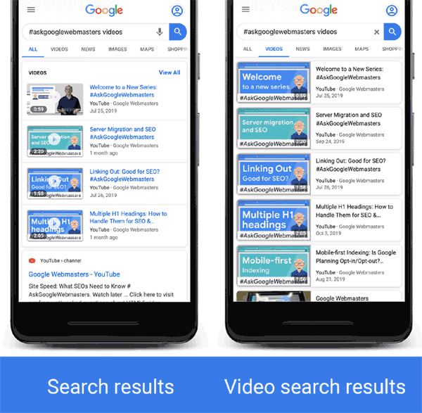 Screenshot of video rich results in Google Search and Google Video Search