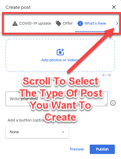 Scroll to select the GMB Post type
