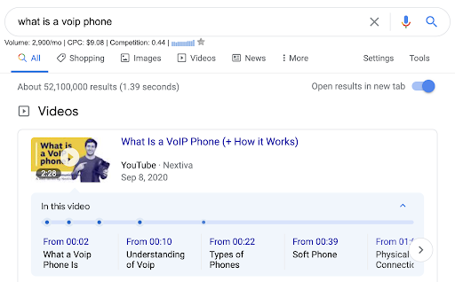 screenshot of nextiva youtube video showing up first spot of search engine results