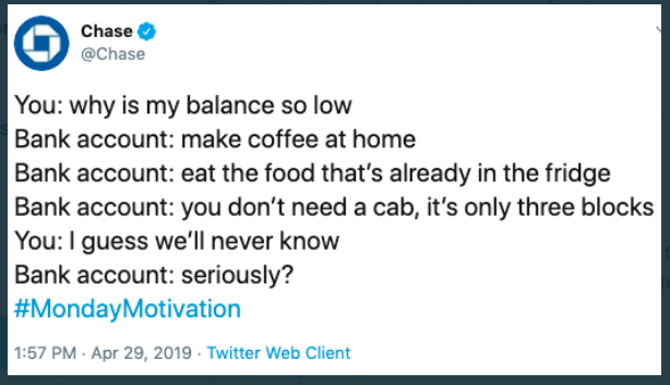 Chase twitter post