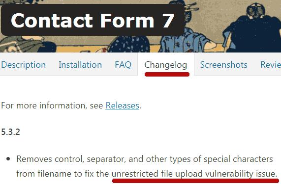 Screenshot of Contact Form 7 Changelog