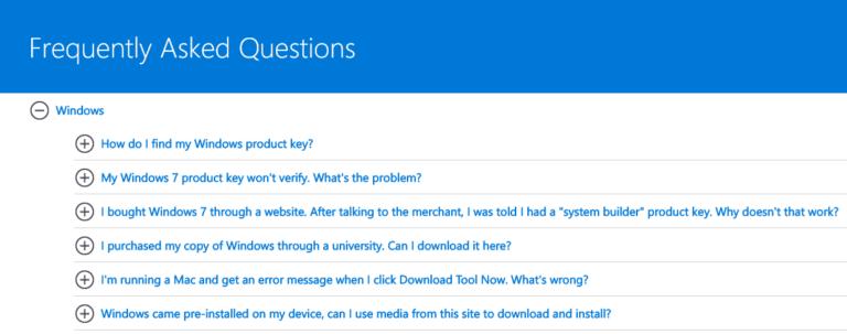Esempio di pagina FAQ di Microsoft