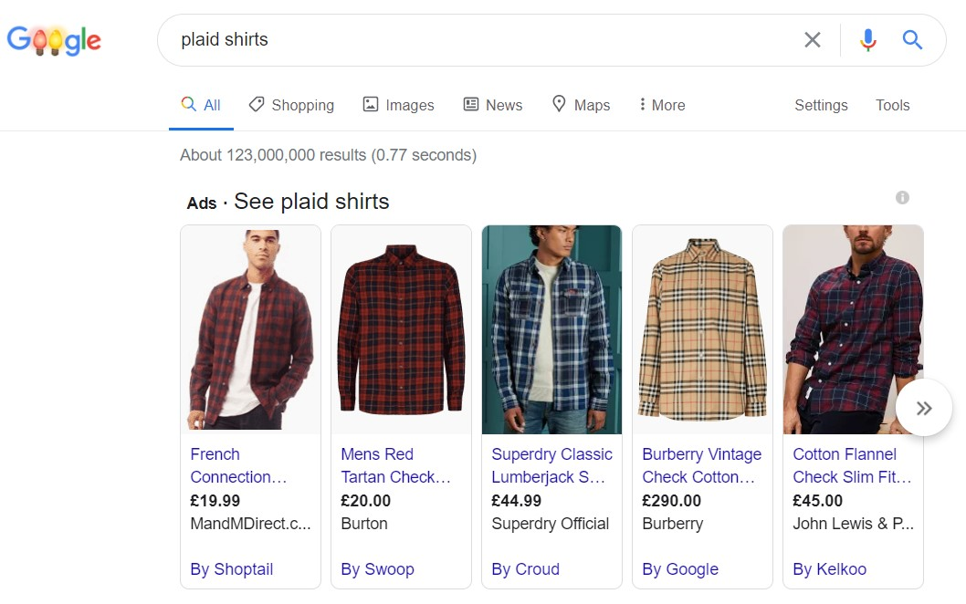 Google shopping product listing example