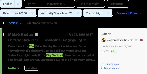 SEMrush peut être utilisé pour la surveillance de la réputation.