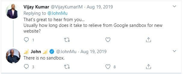 Tweet about Google sandbox myth
