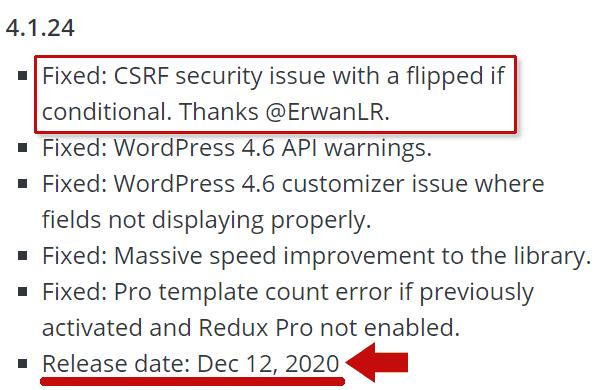 Screenshot of Redux WordPress Plugin Changelog