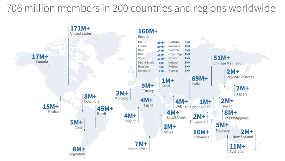 Map of Linkedin User Base