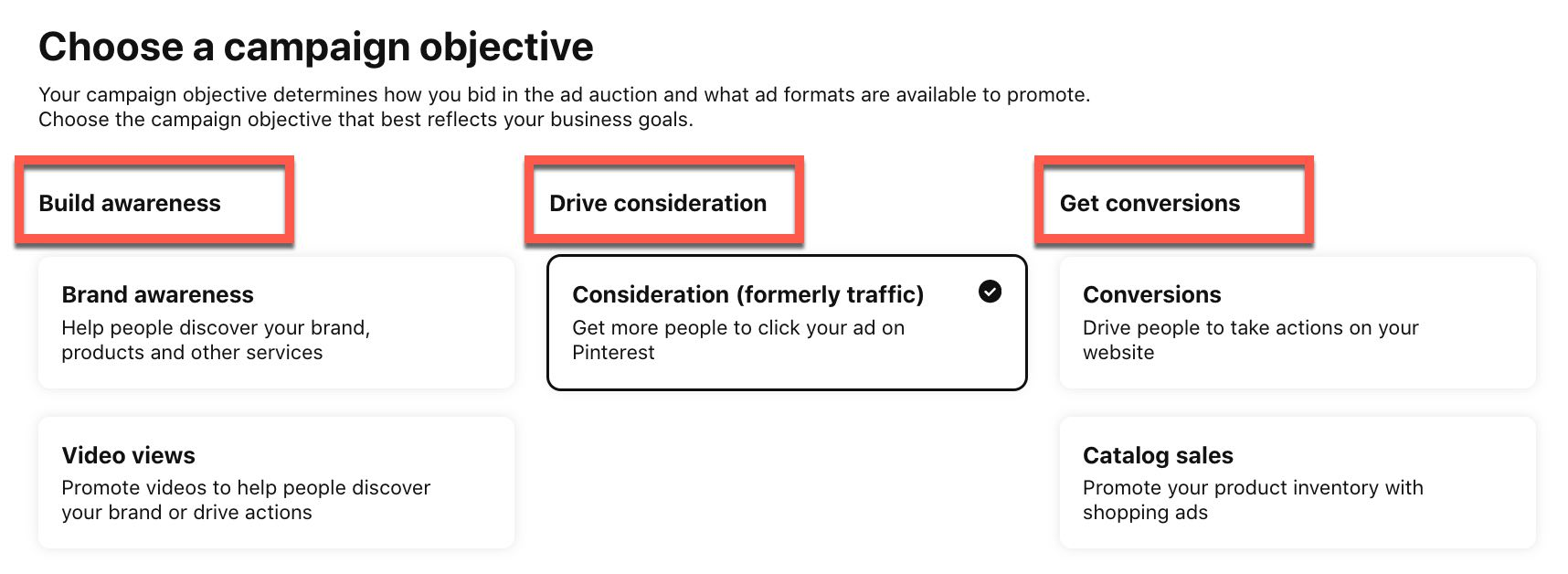 Choose your campaign objectives in Pinterest Ads