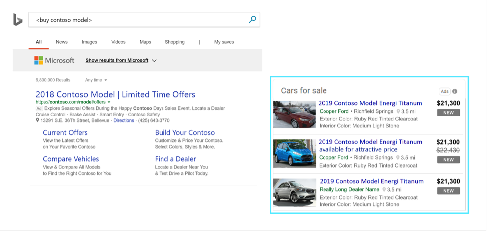 Example of Automotive Ads in SERP