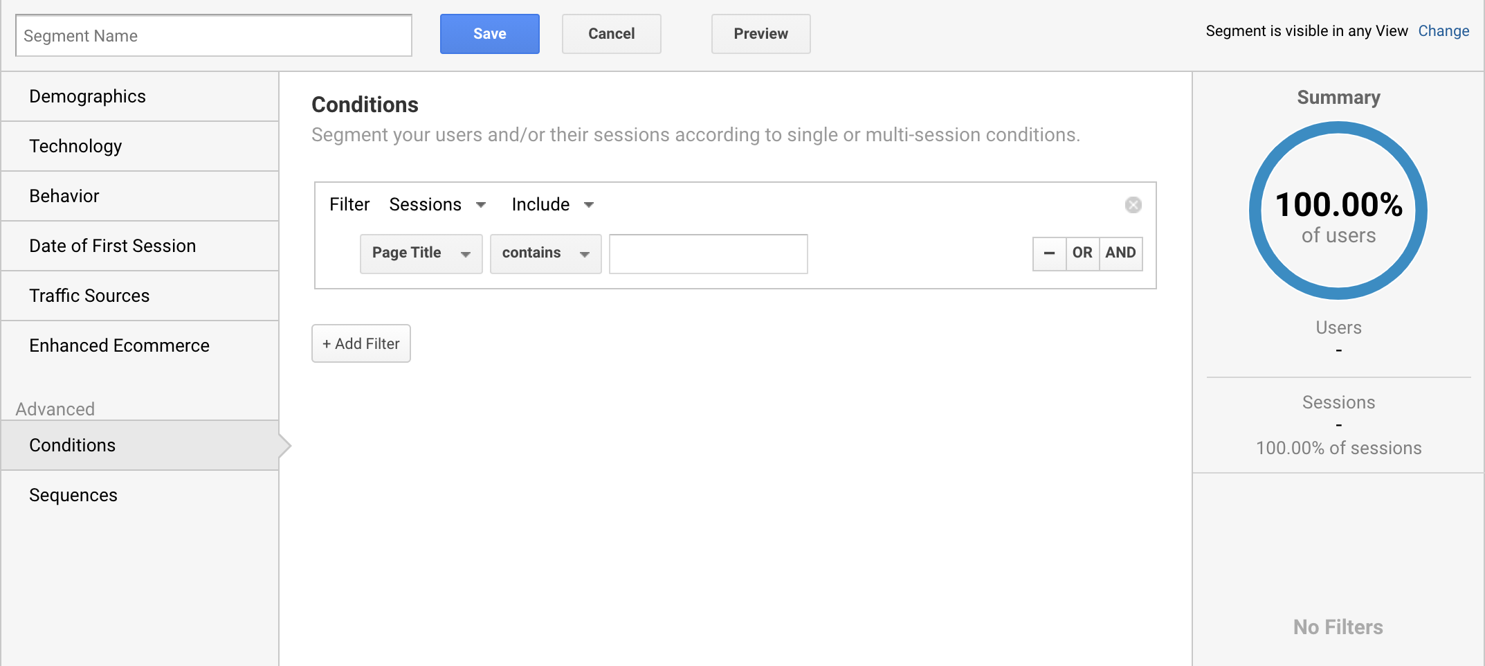 Adding a new segment on Google Analytics for visited Page Title.