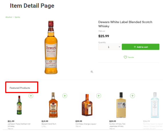 Item Detail Page, featured products in Instacart