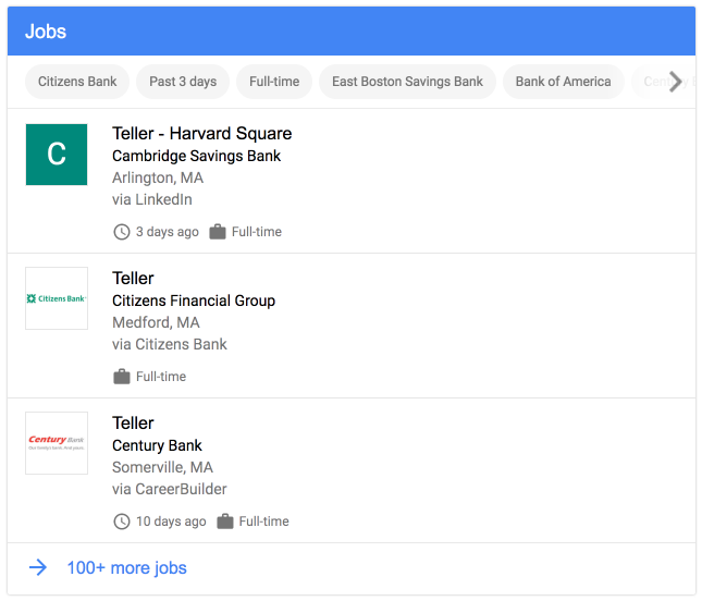 screenshot of job posting structured data in the search results