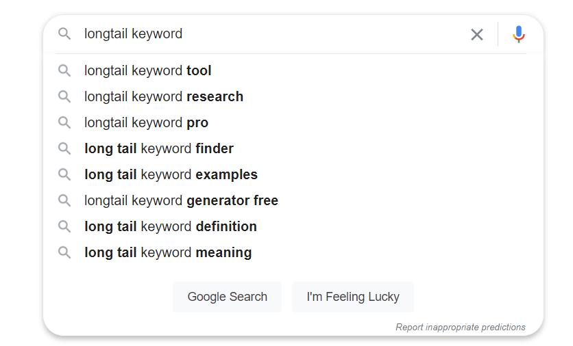 Search predictive suggestions.