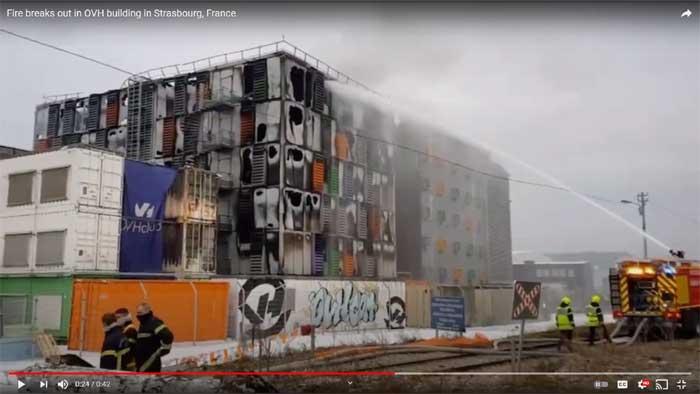 Capture d'écran d'une vidéo de l'incendie dans le data center d'OVH