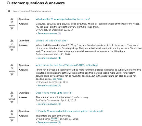 Screenshot of questions section of an Amazon listing