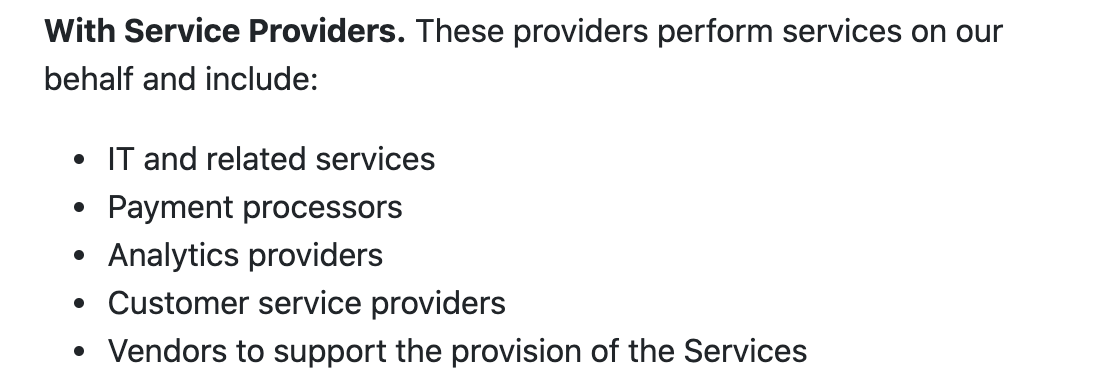What Neeva shares with service providers