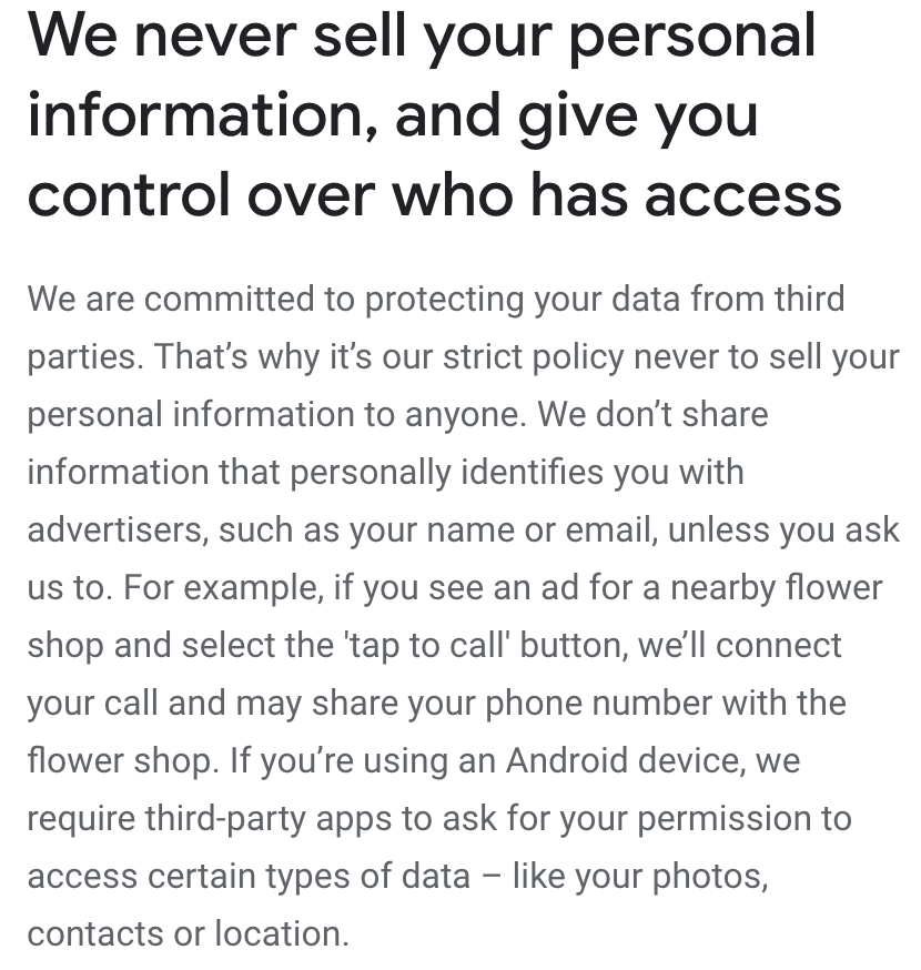 What Google does with your data