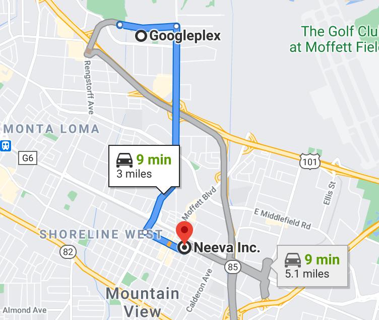 Distance between Google and Neeva