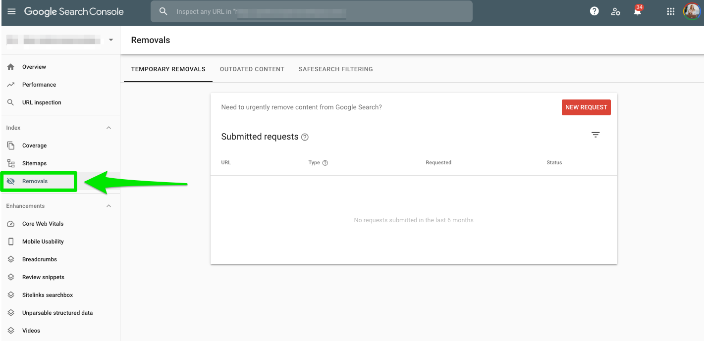 Google Search Console guide Removals section