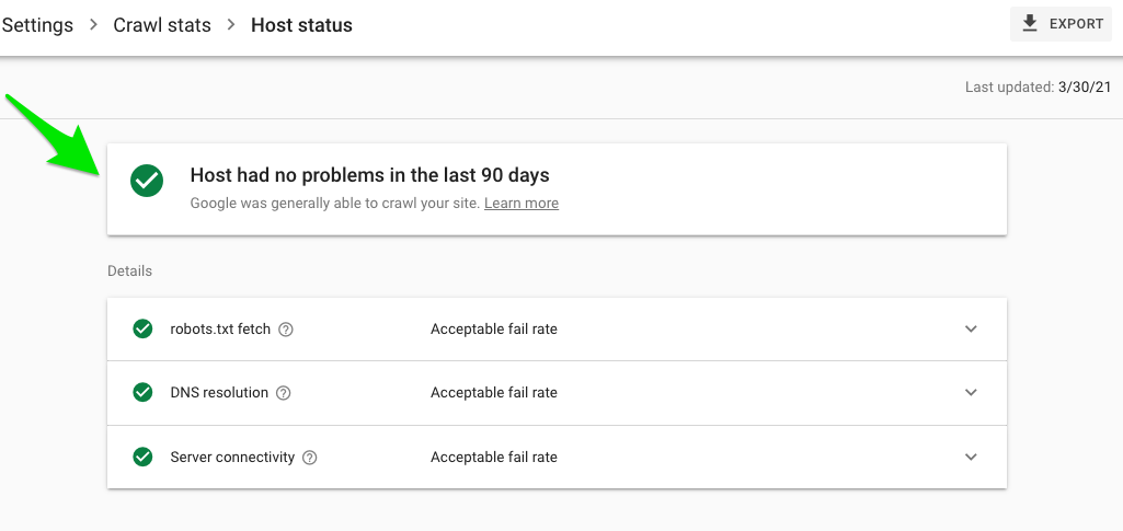 Host status Google Search Console