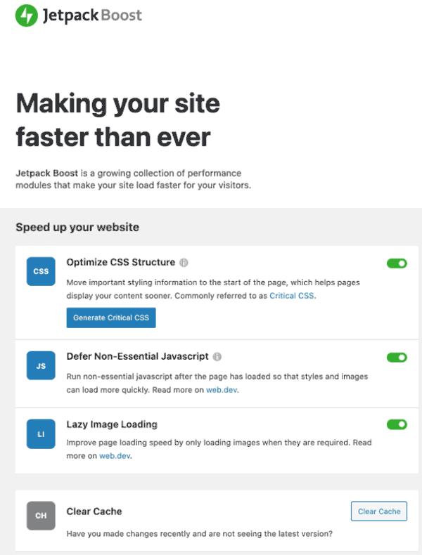 Jetpack Boost  –  Web Vitals WordPress插件