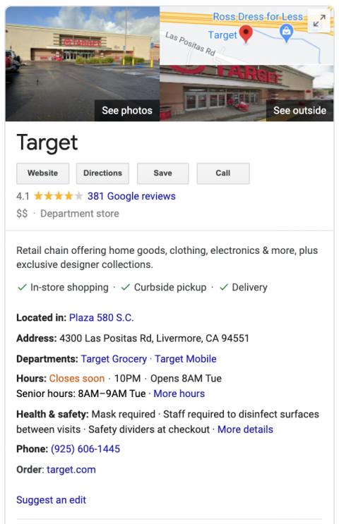 Target GMB Panel