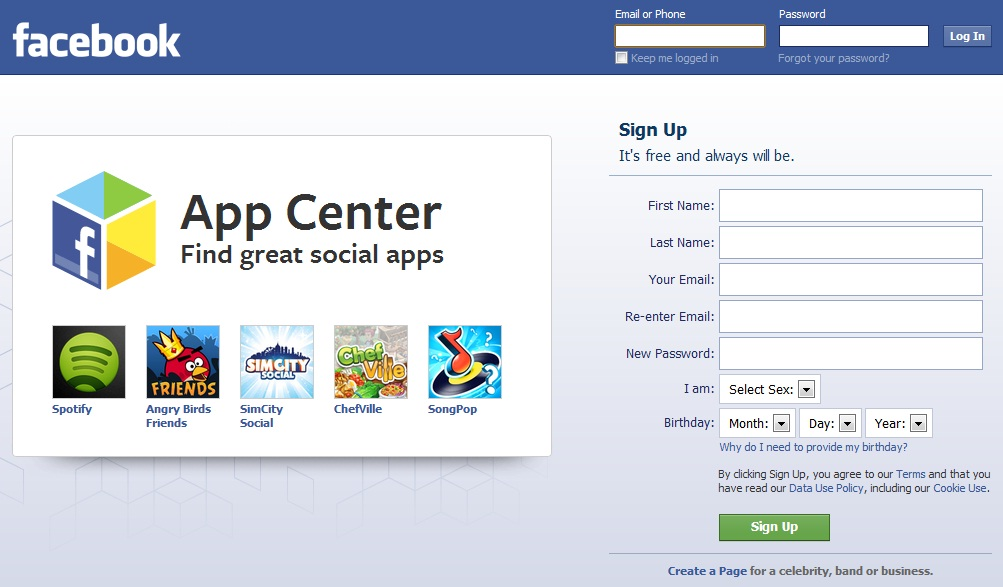 Facebook Sign In and Homepage