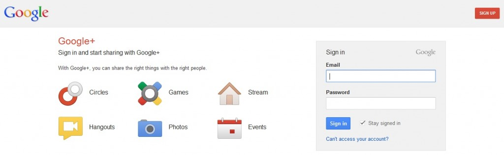 Google+ Sign Up Page