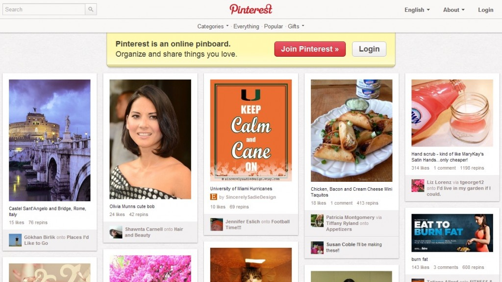 Pinterest Sign Up and Homepage