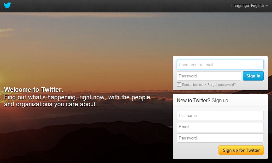 Twitter Homepage and Sign In Page